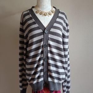 Old Navy Cashmere Cotton Cardigan Gray Stripes